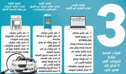 دبي توفر خدمة تجديد رخصة وملكية السيارة